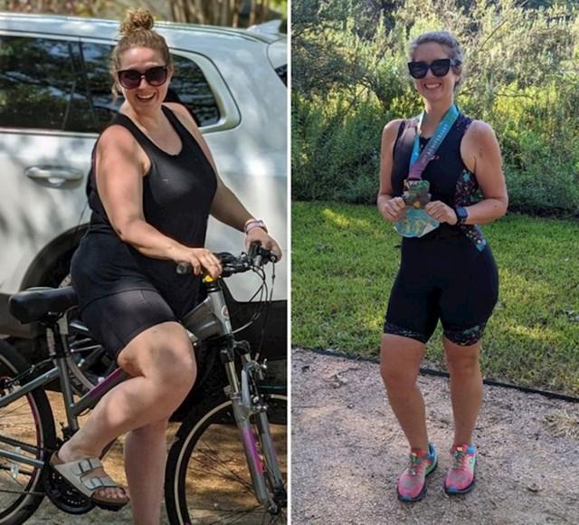 Prije maje od godinu dana počela je voziti bicikl po susjedstvu da se malo aktivira, a sada sudjeluje u triatlonima!