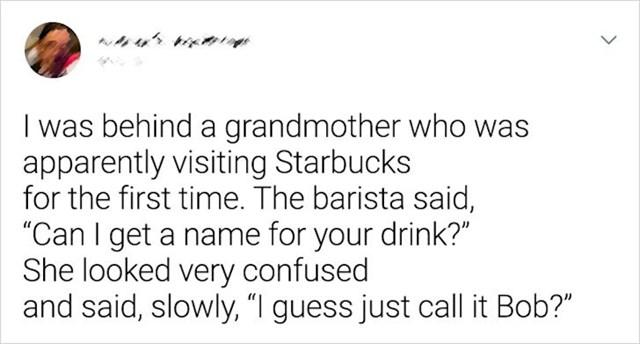 Baka u Starbucksa. Prvi put.