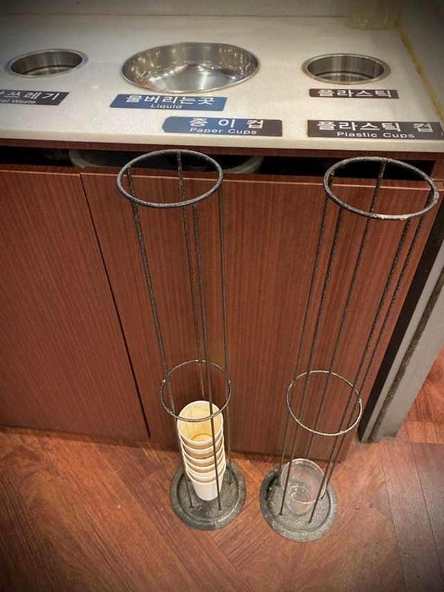 Jedan kafić u Južnoj Koreji ovim je načinom bacanja plastičnih čaša uštedio mnogo mjesta u kantama za smeće