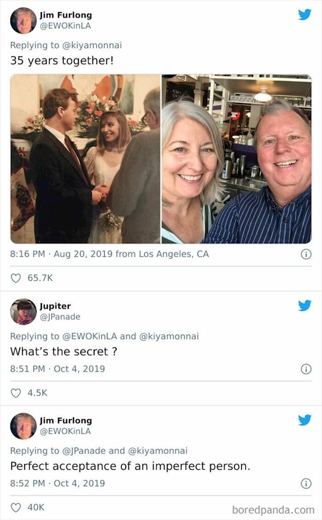 """I za kraj- tajna uspjeha od čovjeka koji je u sretnom braku već 35 godina: """"Ključ je u savršenom prihvaćanju nesavršene osobe""""!"""
