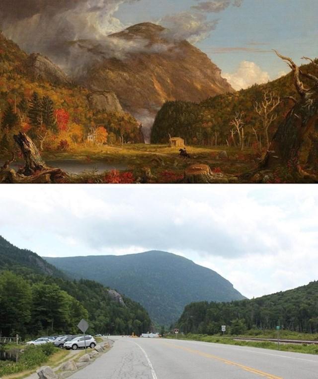 Pejzaž New Hampshirea 1839. (naslikao je Thomas Cole) i fotografija istog mjesta 2018.