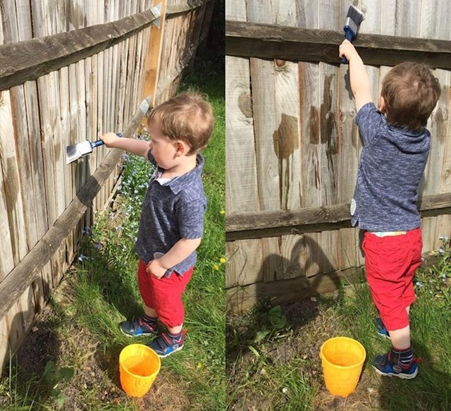 12. pravilo- pomozite oko kućanskih poslova- klinac boja ogradu vodom