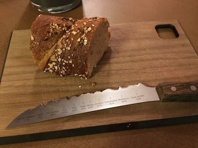 9. Nož u jednom švicarskom restoranu čija oštrica prikazuje najviše vrhove Švicarske