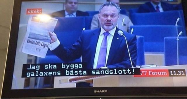 5. Netko je zabunom u govor švedskog političara ubacio titlove iz crtića. Pretpostavljamo da nije još dugo bio zaposlenik te televizijske kuće