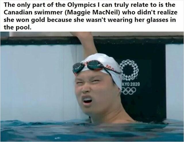 1. Kanadska plivačica nije skužila da je osvojila zlatnu medalju jer, naravno, ne nosi naočale za vid dok pliva