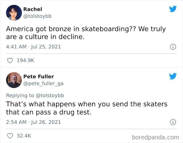 5. Zašto SAD nije osvojio srebro ili zlato u skateboardingu? Jer šalju skatere koji mogu proći testove na droge!