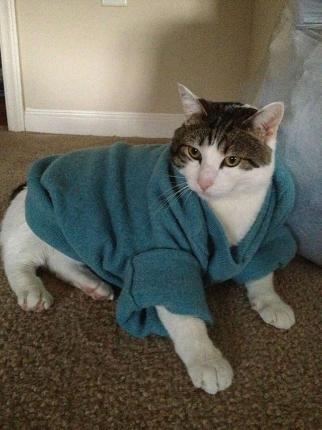 9. Nije znao kako će reći ženi da joj se pulover smanjio u pranju, a da se ne naljuti, pa je iskoristio mačku da je nasmije i omekša