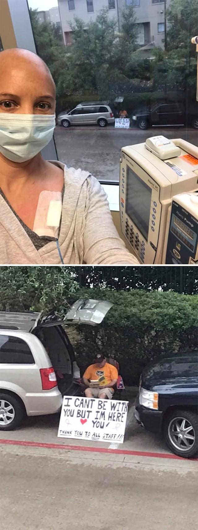 Zbog Covida19 ne može biti s njom dokprima kemoterapiju, ali je svaki dan ispred bolnice s transparentom podrške