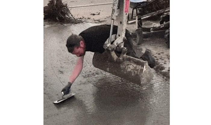 Morate vidjeti sistem kojim radnik izravnava betonski pod; svi umiru od smijeha na ovu metodu!
