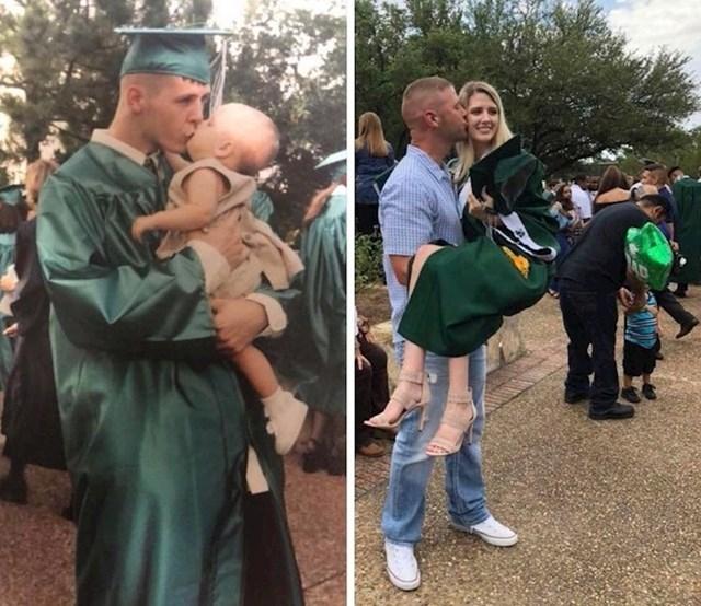 Beba na tatinoj maturi 2001. i tata na njezinoj proslavi 2019.