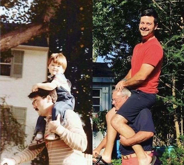 30 godina razlike između ove dvije slike. Tata je uvijek tata!
