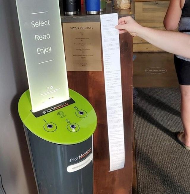 U ovom kafiću možete isprintati mini priču da skratite vrijeme dok čekate vašu kavu