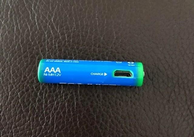 1. Baterija koja se puni običnim punjačem s mikro USB nastavkom