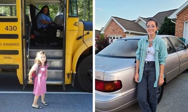 """""""Moja kćer prvi dan škole i danas sa svojim prvim automobilom. Kao da je prošlo tjedan dana!"""""""
