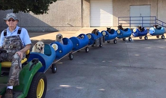 Djedica je napravio vlakić da može sve pse koje spašava zajedno voditi u šetnje