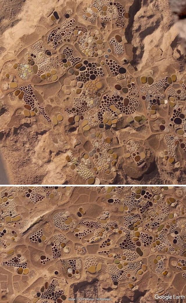 Ova slika izgleda poput apstraktne umjetnosti. Will je najprije pomislio da se radi o arheološkoj lokaciji, ali se ove udubine zapravo koriste u staromodnom načinu ekstrakcije soli.
