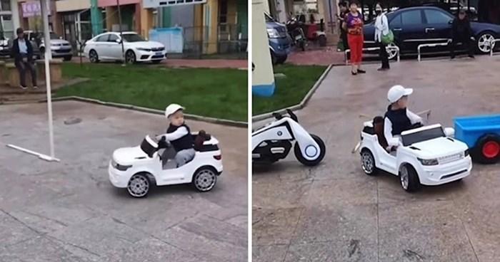 Ovaj dječačić je praktički već spreman za vozačku dozvolu. Pogledajte što je izveo pred očima roditelja