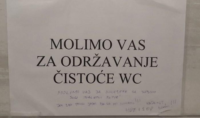 Netko je na internetu podijelio poruku koju je našao u WC-u zagrebačke bolnice, evo što je pisalo