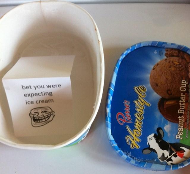 """""""Cimerica je pojela moj sladoled pa kutiju napunila vodom koja se zaledila. Ostavila mi je i poruku."""""""