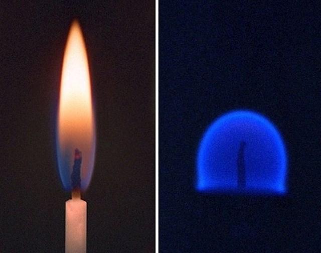 Svijeća na Zemlji i svijeća koja gori u mikrogravitaciji na Međunarodnoj svemirskoj postaji