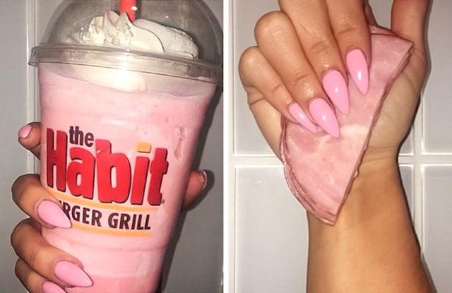 Trebalo joj je nešto rozo za slikanje noktiju pa je uzela salamu.