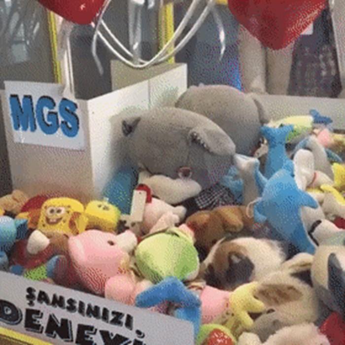 Ubacio je novac u automat kako bi izvadio igračku, a onda mu je nešto pokvarilo planove
