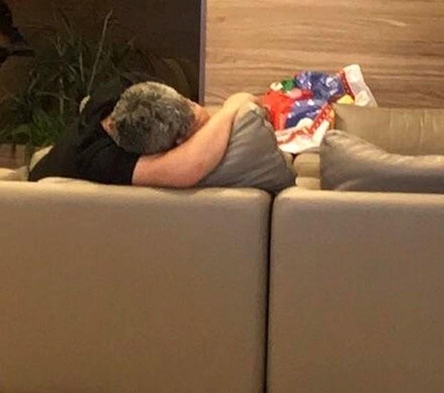 Mislili ste da ga netko grli? Ne, to je samo jastuk.