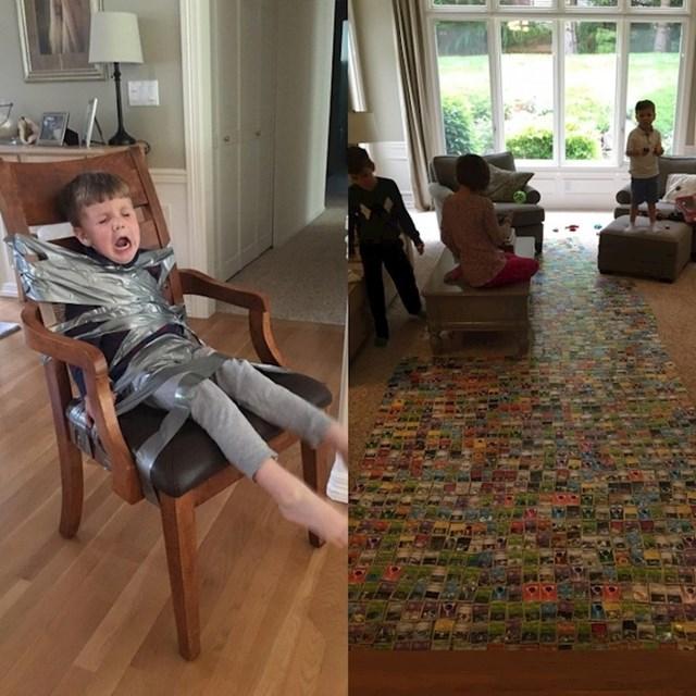 Slagali su karte na podu pa su morali maknuti najmlađeg brata koji je htio sve uništiti.
