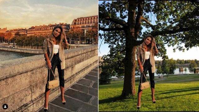 """Ova influencerica je očito zaboravila da je istu sliku koristila već u """"fotki iz Pariza"""" pa ju je ponovno iskoristila za ovu desnu."""