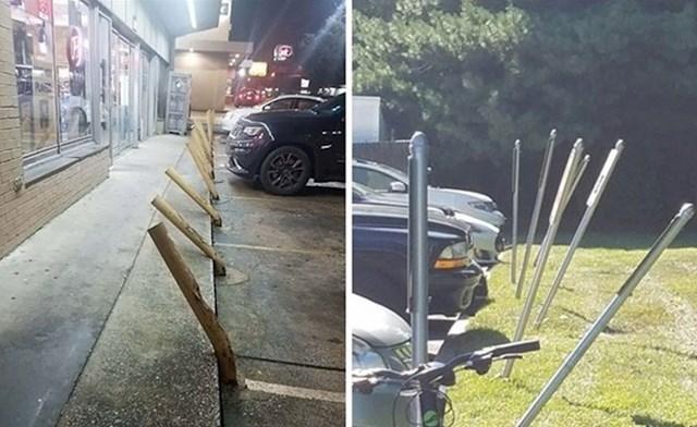 Parking ispred trgovine s alkoholnim pićima i parking ispred očne poliklinike