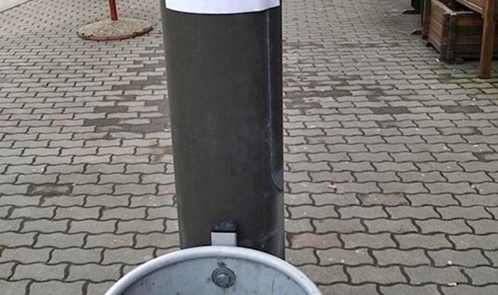 Netko je u Vinkovcima iznad koša za smeće zalijepio poruku koja će mnoge vratiti u djetinjstvo
