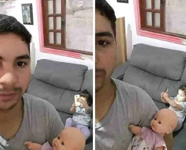 """""""Na ovim fotkama sam držao 'unuku' dok je moja kći izrađivala selfije."""""""