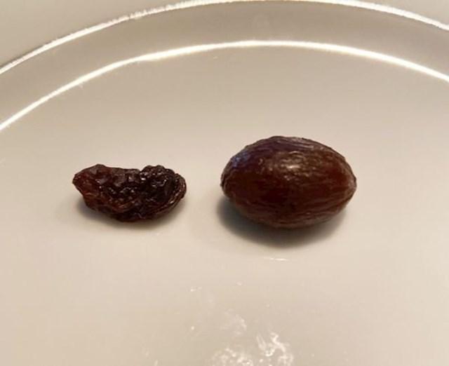 """""""Ova grožđica se preko noći napunila vodom, ne znam kako. Evo je u usporedbi s običnom grožđicom."""""""