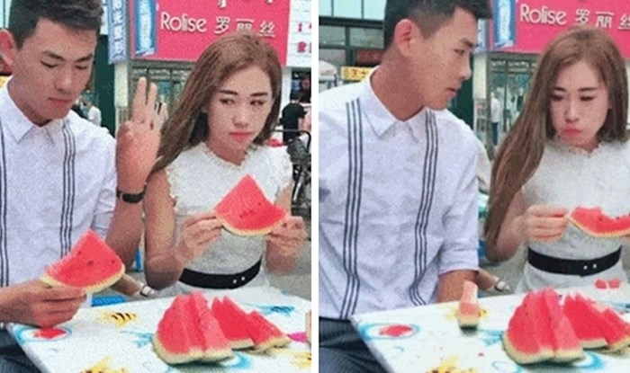 Kladio se da lubenicu može pojesti brže, nakon ovoga joj ništa više nije bilo jasno