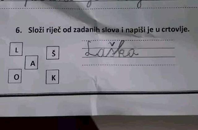 Učenik je od slova trebao sastaviti riječ, svojim rješenjem je nasmijao učiteljicu