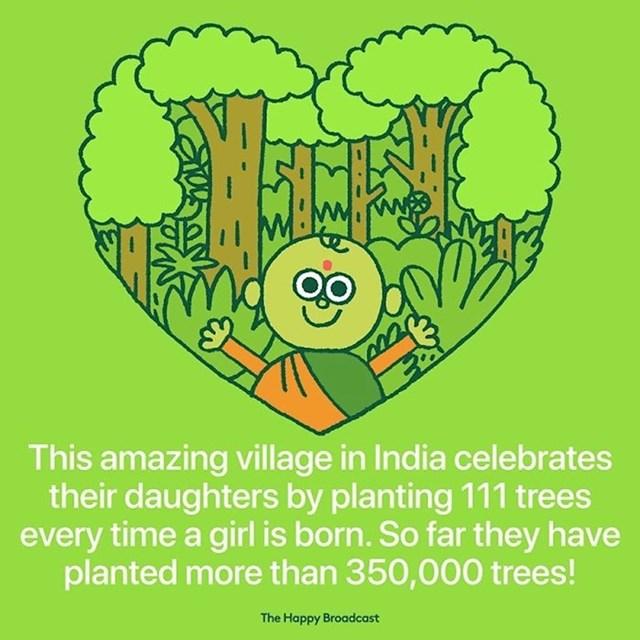 Jedno selo u Indiji posadi 111 stabala svaki put kad netko rodi žensko dijete. Ovako su posadili već preko 350 tisuća stabala.