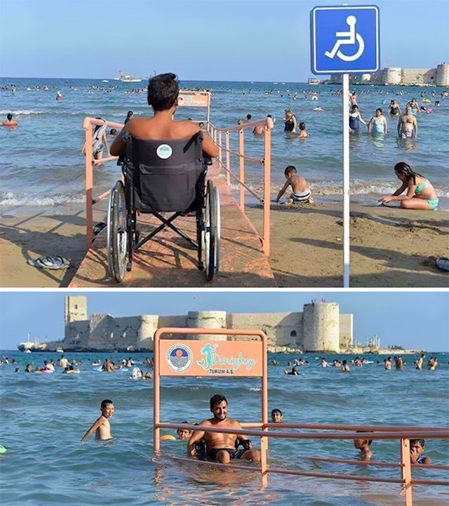 Sve više mjesta ima na plažama posebne rampe pomoću kojih se i osobe u invalidskim kolicima mogu kupati. Ova se nalazi u turskom Kızkalesiju.
