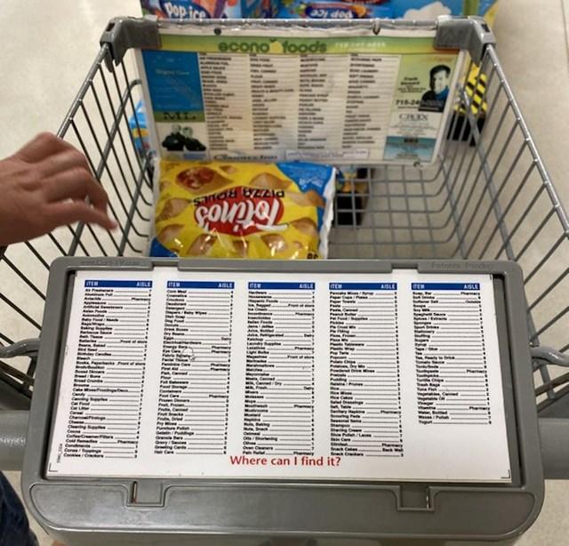 Ovaj supermarket ima upute na kojima piše gdje se nalaze najčešće kupljene stvari.