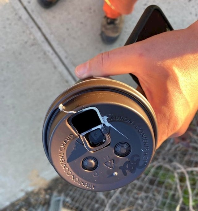 """""""Jutros sam si uzeo kavu i krenuo na svoj prvi posao. Ne, ovo nije šlag. Ptica mi je poklonila 'iznenađenje', točno u rupu kroz koju se pije kava."""""""