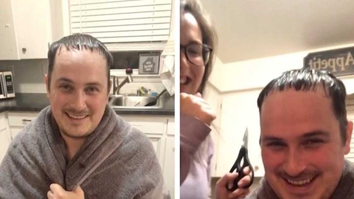 Tijekom karantene mu je narasla kosa, pogledajte zašto su se smijali kad ga je žena ošišala
