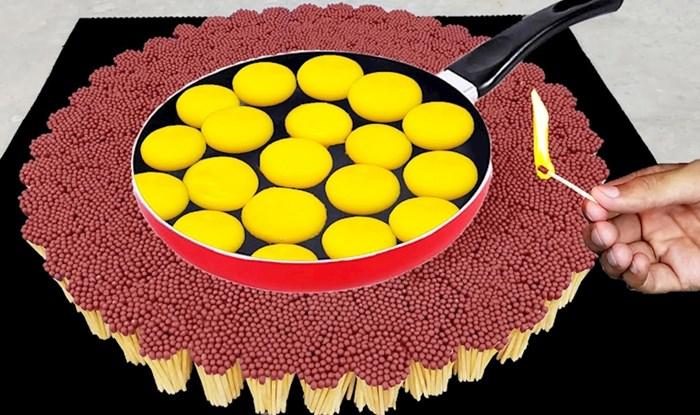 VIDEO Lik je složio hrpu šibica, zapalio ih i provjerio mogu li ispeći jaja u tavi