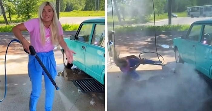 VIDEO Ruskinja je htjela sama oprati auto, prijateljica je snimila urnebesnu scenu