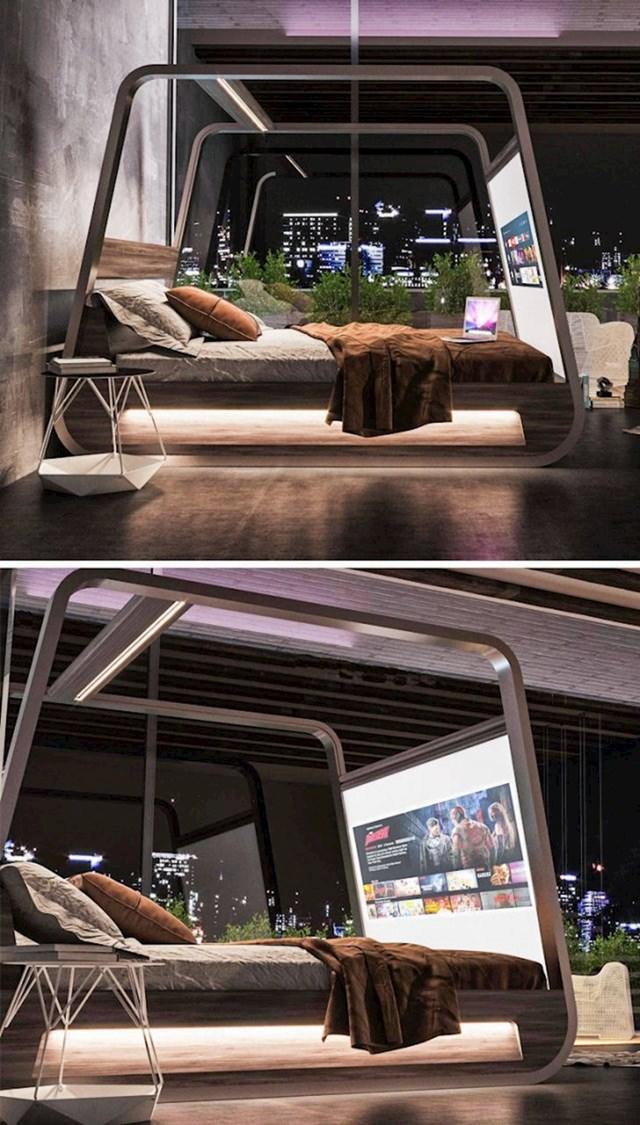 Krevet s ugrađenim TV-om.