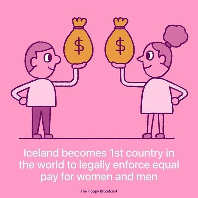 Island je postao prva zemlja u svijetu koja je zakonski nametnula jednake plaće ženama i muškarcima.
