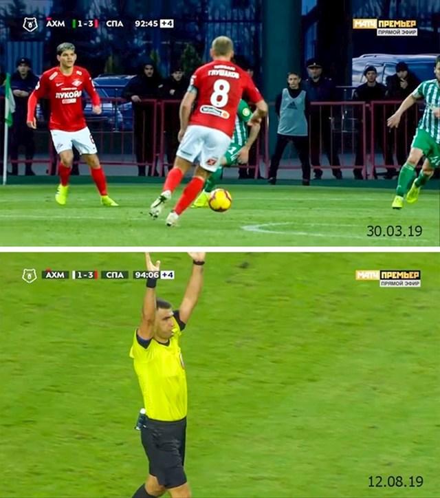 Isti stadion, iste momčadi, isti rezultat, isti crveni karton, isti broj minuta sudačke nadoknade...