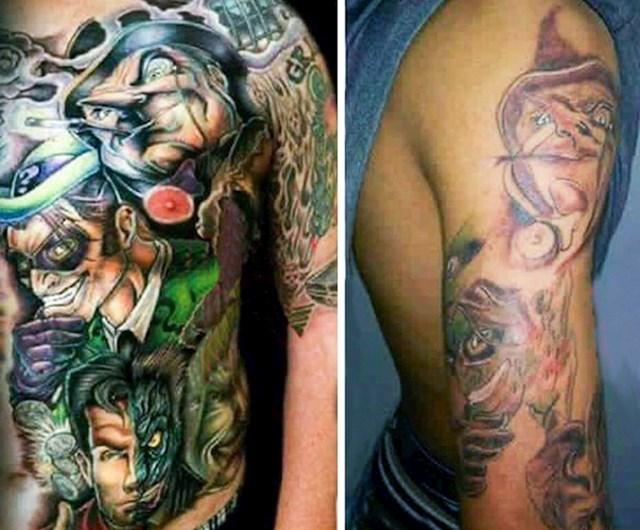 Htio je tetovažu istu kao na lijevoj slici, no onda je shvatio da mu tattoo majstor nije pretjerano talentiran.