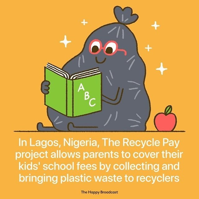 U Lagosu u Nigeriji, roditelji mogu platiti školovanje za djecu plastičnim otpadom koji se zatim reciklira.