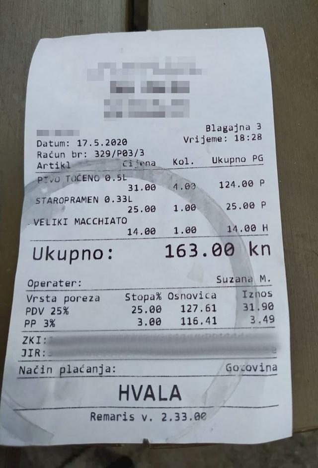 Evo koliko su gosti platili nekoliko piva i jedan macchiato: