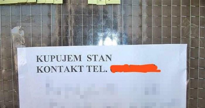 Netko je na ulaznim vratima zgrade postavio oglas, stanare je nasmijao nečiji komentar