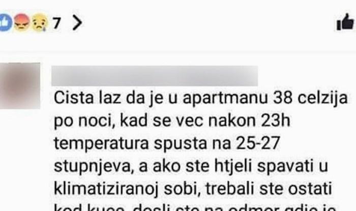 Nezadovoljni gosti apartmana žalili su se zbog nedostatka klime, evo što im je poručila